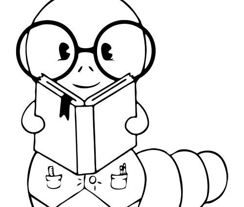 500x425 Cartoon Inch Worm Coloring Pages The Bookworm Coloring Page Free