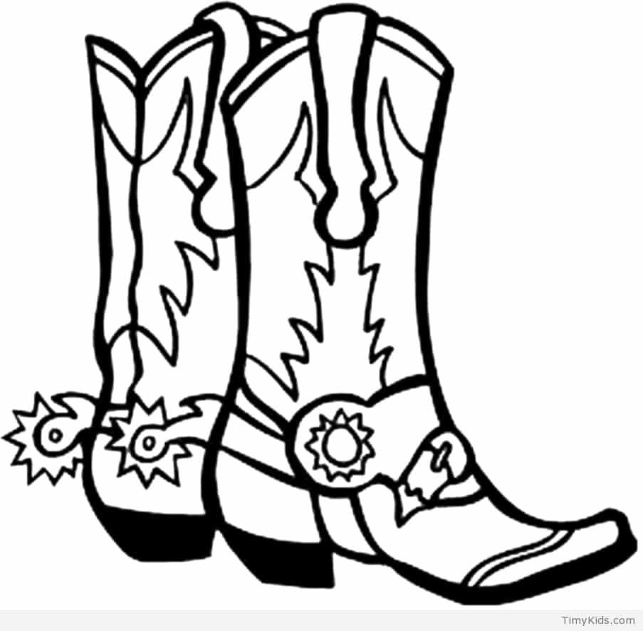 903x887 Timely Cowboy Boot Coloring Page Boots Pages T