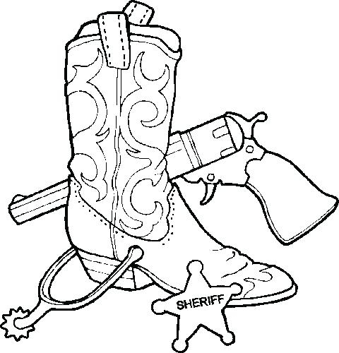 480x500 Western Coloring Pages Printable Cowboy Boots Coloring Page