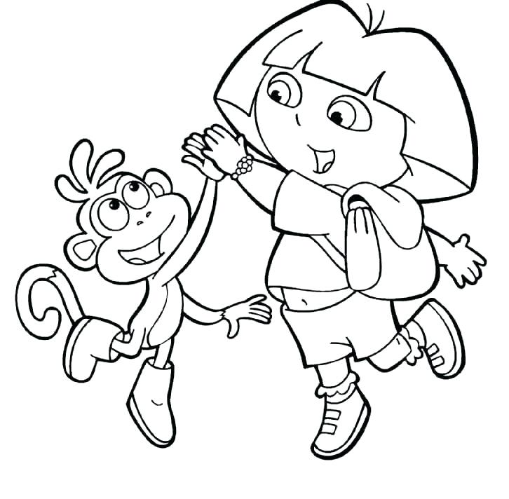726x712 Dora Boots Coloring Pages