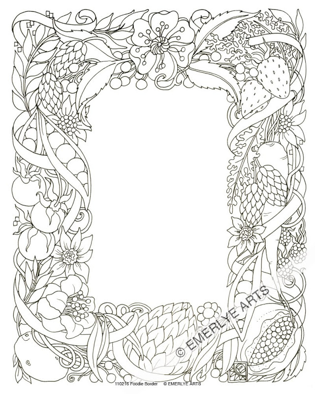 640x800 Flower Border Colouring Pages