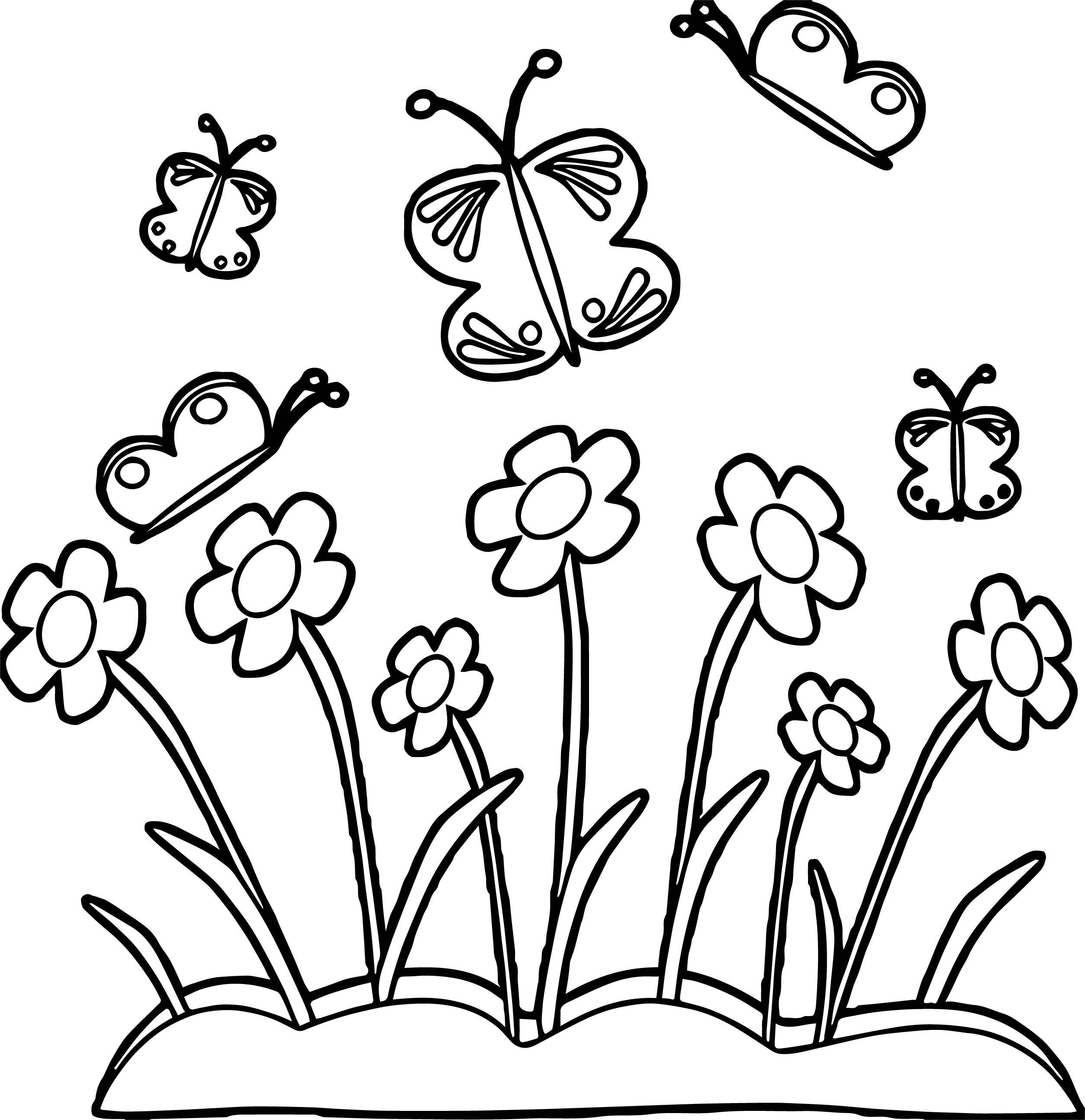 2507x2586 Marvelous Spring Flower Border And Butterflies Coloring Page Image