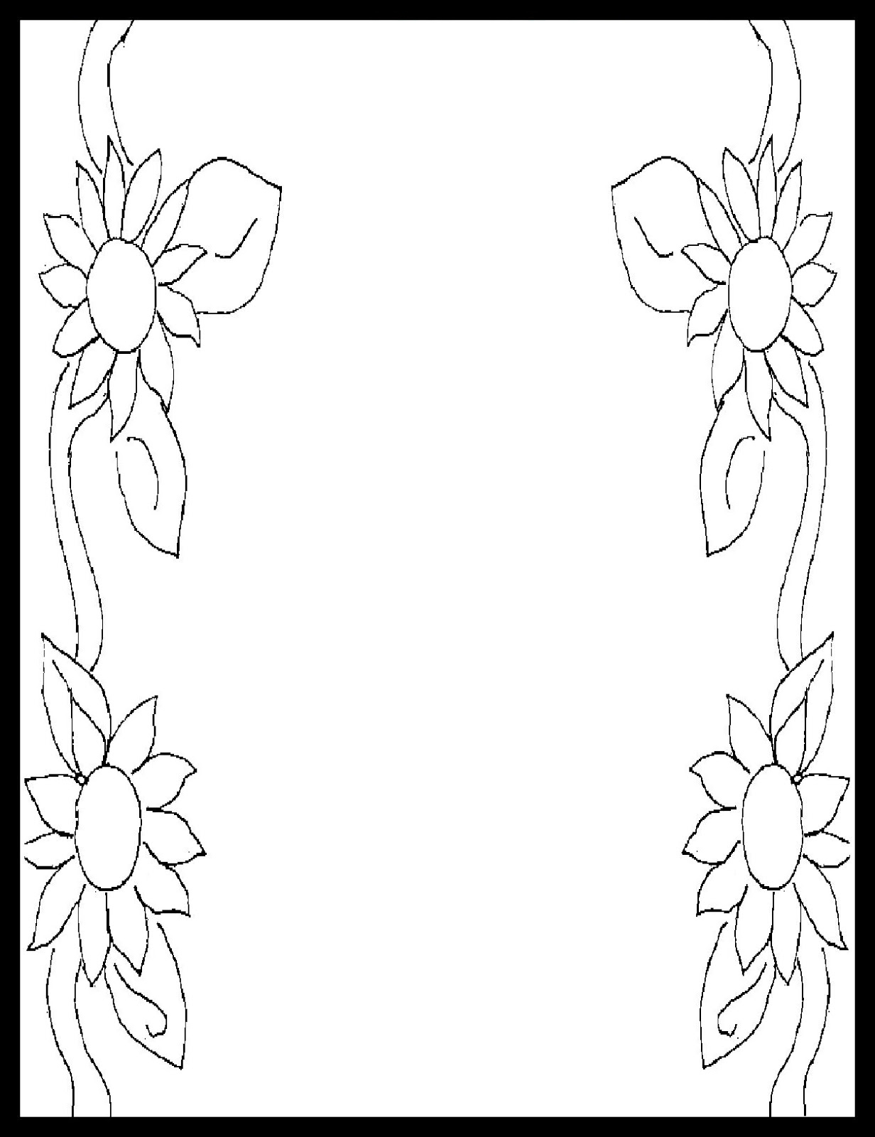 1232x1600 Flower Border Coloring Pages Printable Coloring For Kids