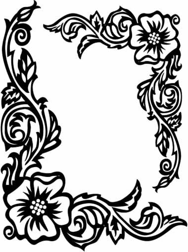 380x510 Flower Border Rose Coloring Pages Rame