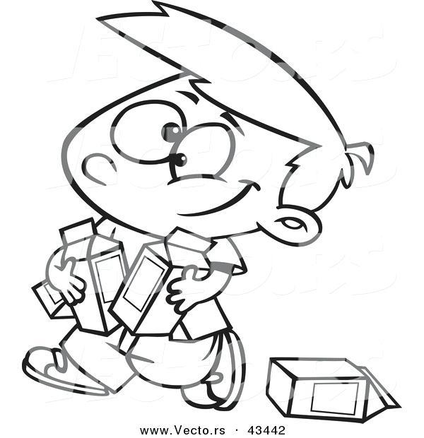 600x620 Milk Coloring Page Vector Of A Happy Cartoon Boy Carrying Quarts