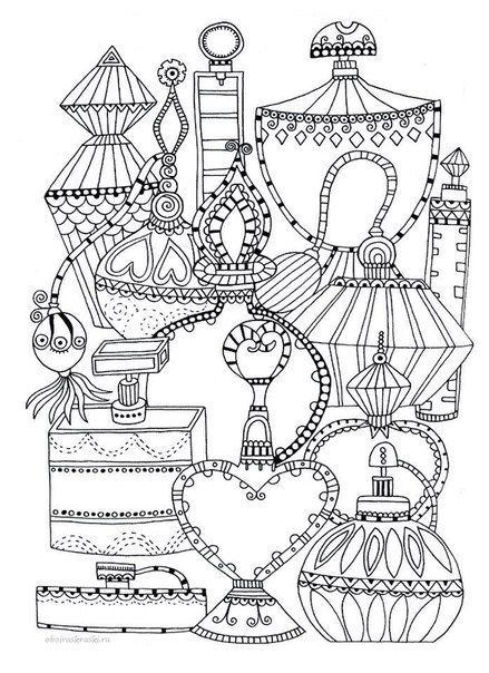 439x604 Perfume Bottles Coloring Page