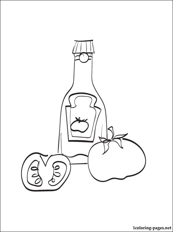 560x750 Ketchup Bottle Coloring Page Ketchup Coloring Pages Free