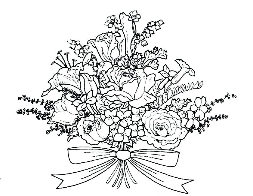 841x653 Bouquet Of Flowers Coloring Pages S S Bouquet Flower Coloring