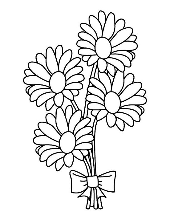 570x738 Daisy Bouquet Coloring Page