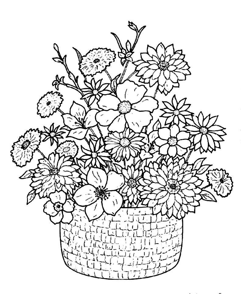 792x967 Flower Bouquet Coloring Pages