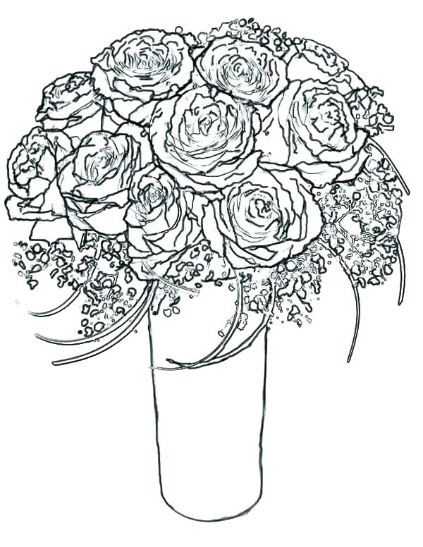600x776 Flower Bouquet Coloring Pages Free Coloring Pages Of Roses Rose