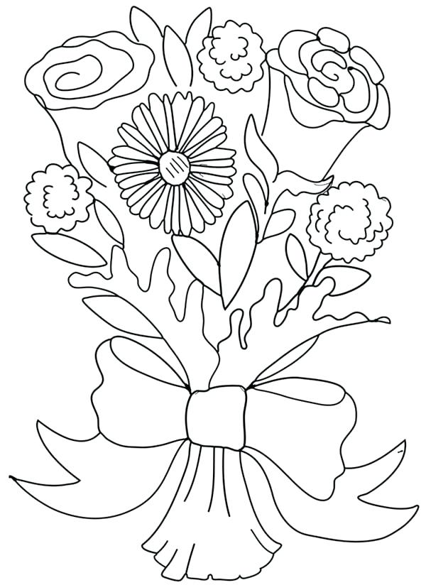 600x824 Flower Bouquets Coloring Pages