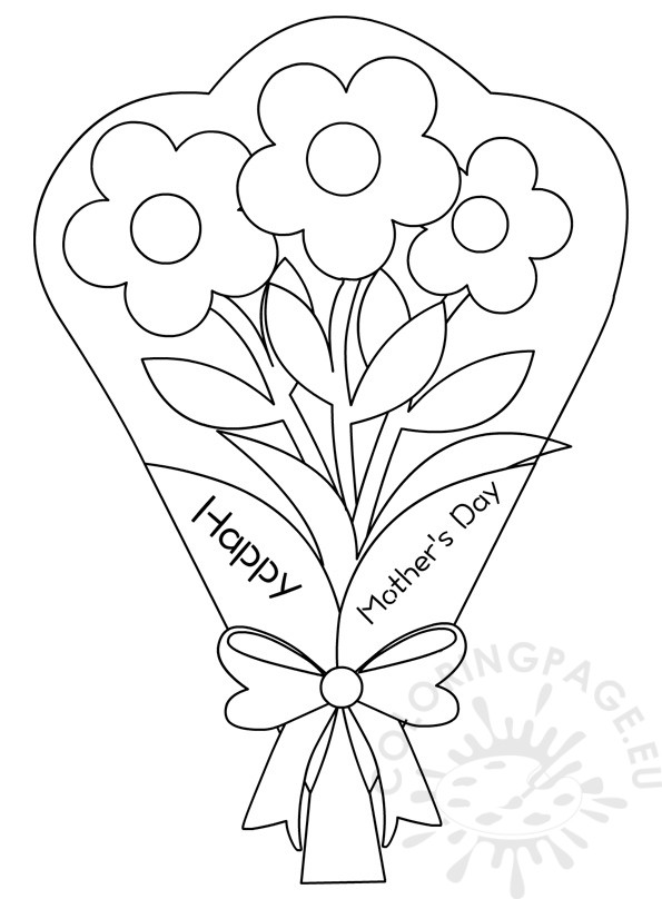 595x808 Flowers Bouquet Coloring Pages Mother's Day Coloring Page