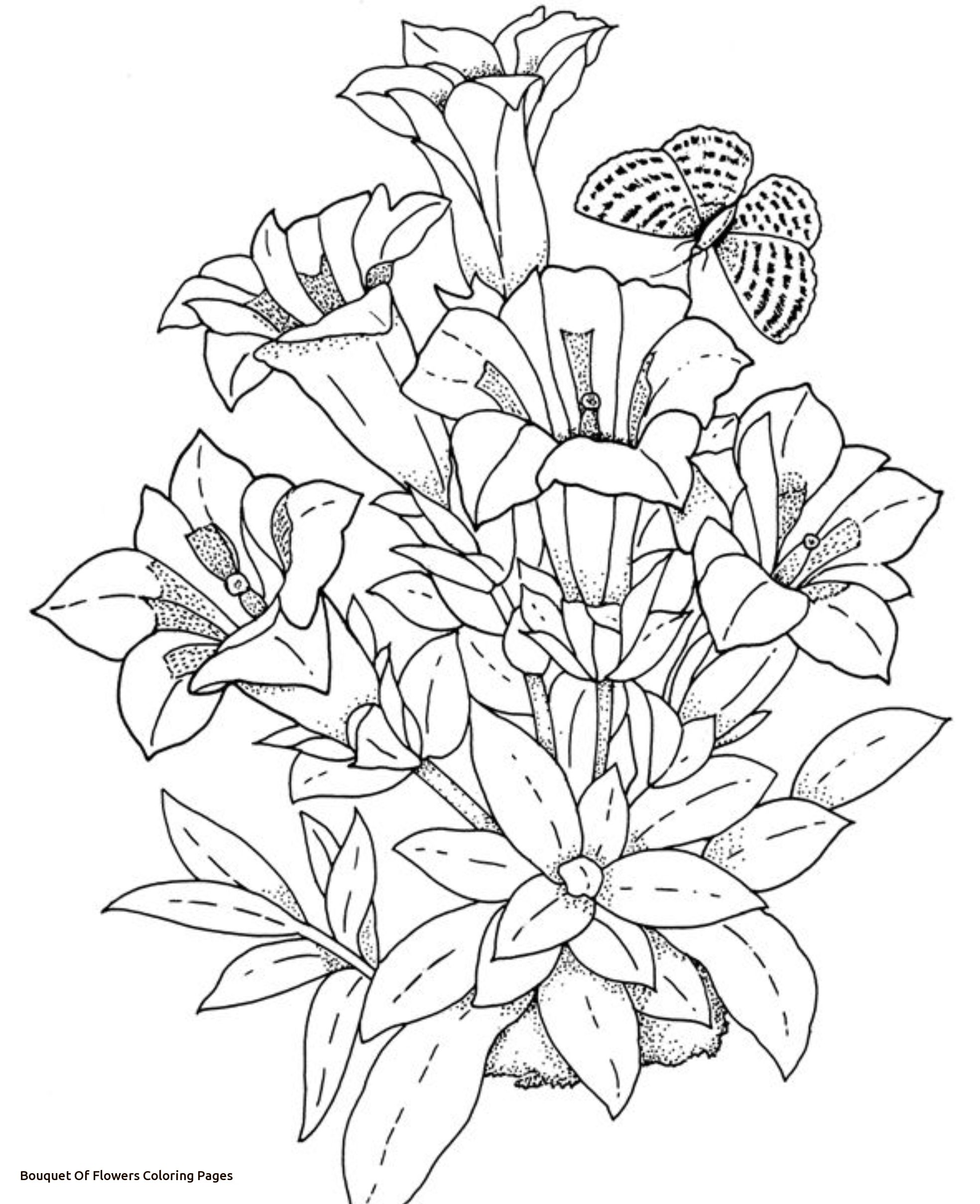 1968x2418 Realistic Flowers Coloring Pages For Bouquet