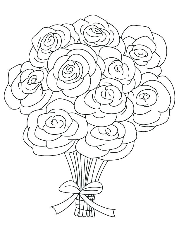 612x792 Roses Coloring Page Roses Coloring Page Bouquet Of Roses Coloring