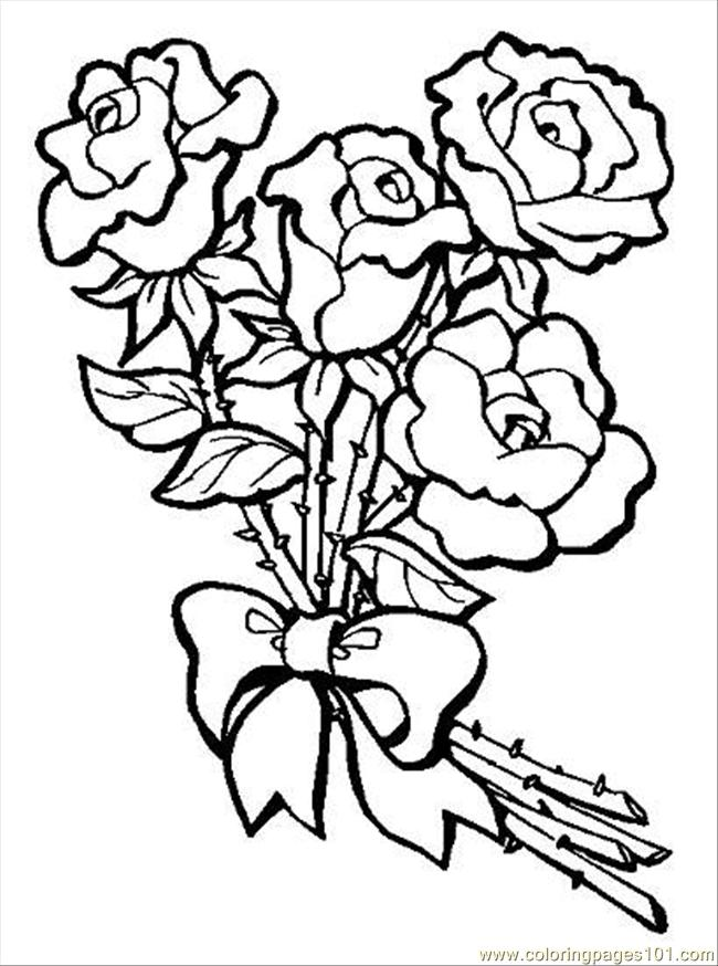 650x874 S Bouquet Of Roses Preview Coloring Page