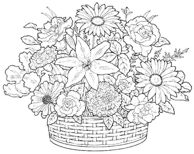 757x600 Bouquet Flowers Colouring Sheets Free Printable For Girls Boys
