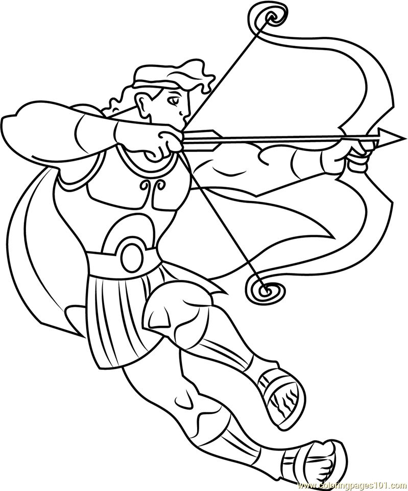 799x961 Hercules Ready To Fight With Bow And Arrow Coloring Page