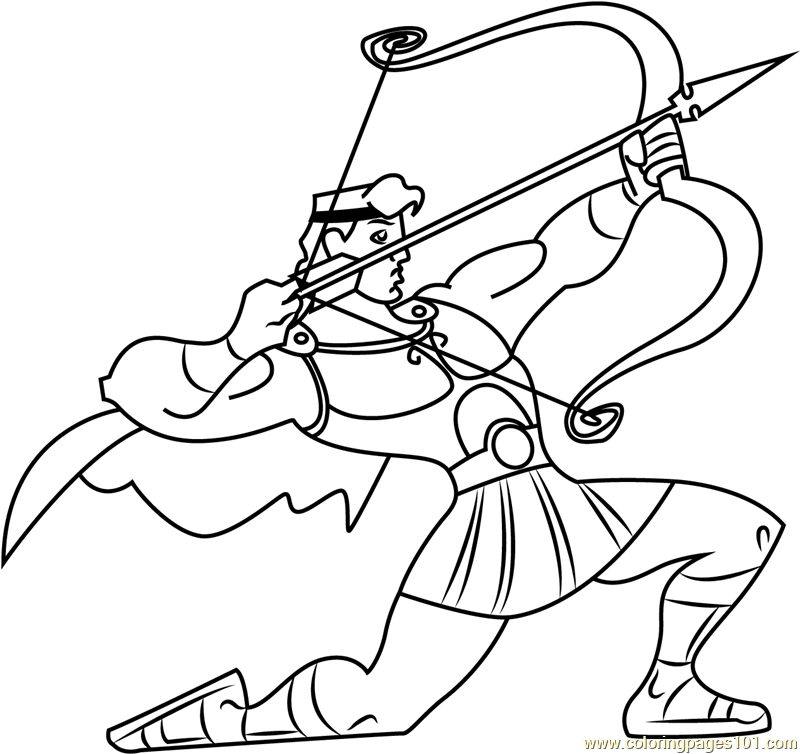 800x754 Hercules With Bow And Arrow Coloring Page