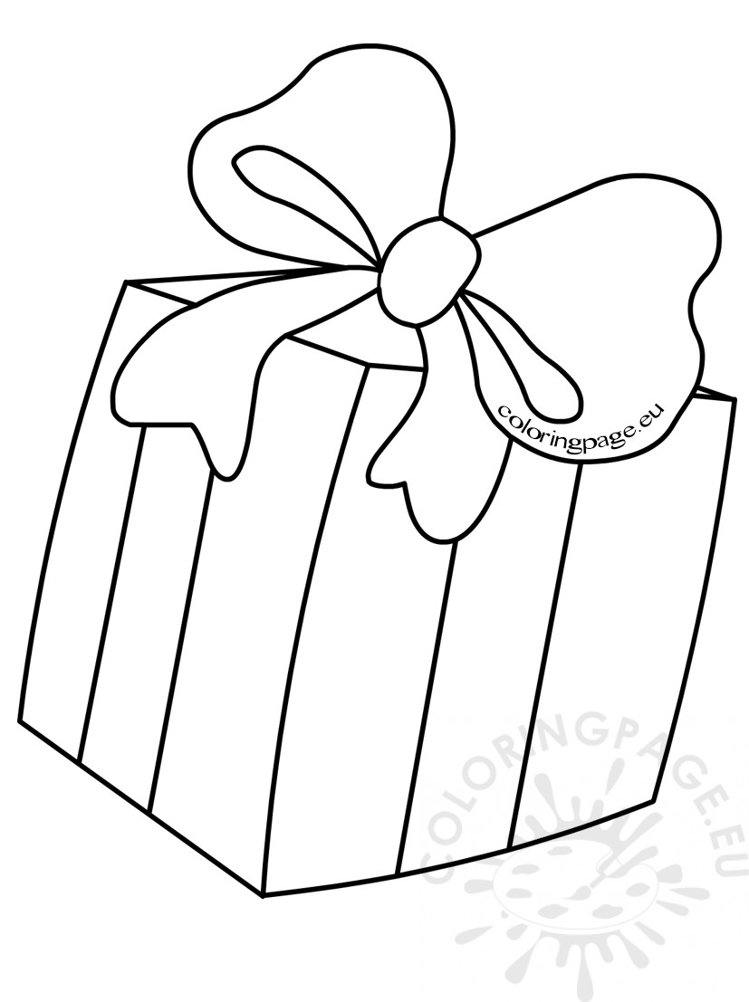 827x1107 Kids Coloring Pages Gift Box With Bow Coloring Page
