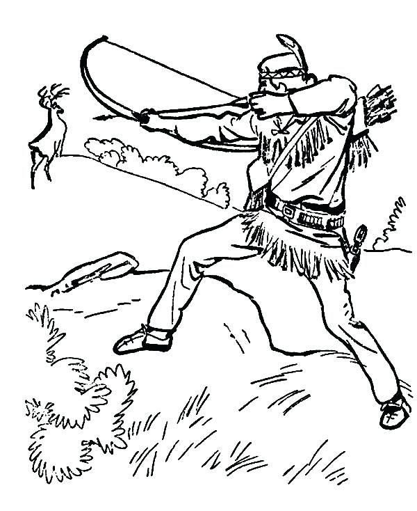 600x734 Bow Hunter Coloring Page