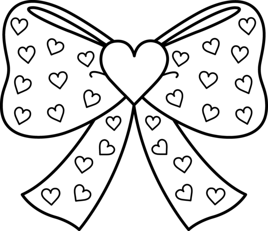 550x474 Bow With Hearts Coloring Page
