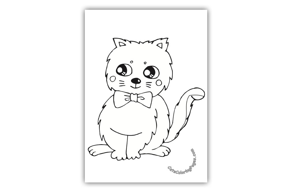 960x630 Cat With Bow Tie Coloring Page