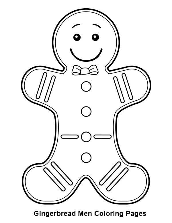 600x777 Gingerbread Men With Bow Tie Coloring Page Coloring Sun