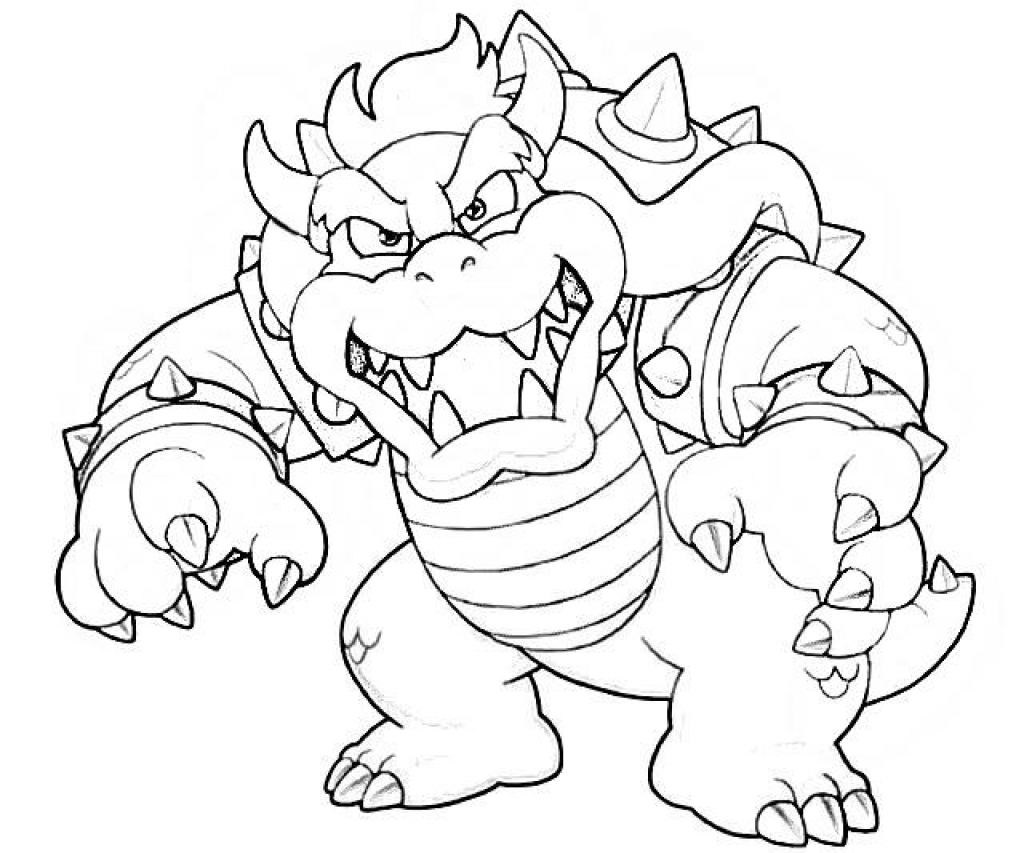1024x853 Dry Bowser Coloring Page Home Intended Pages