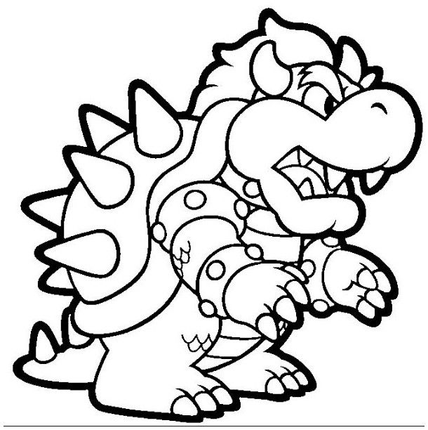 610x612 Bowser Coloring Page For Kids Coloring Board Bowser