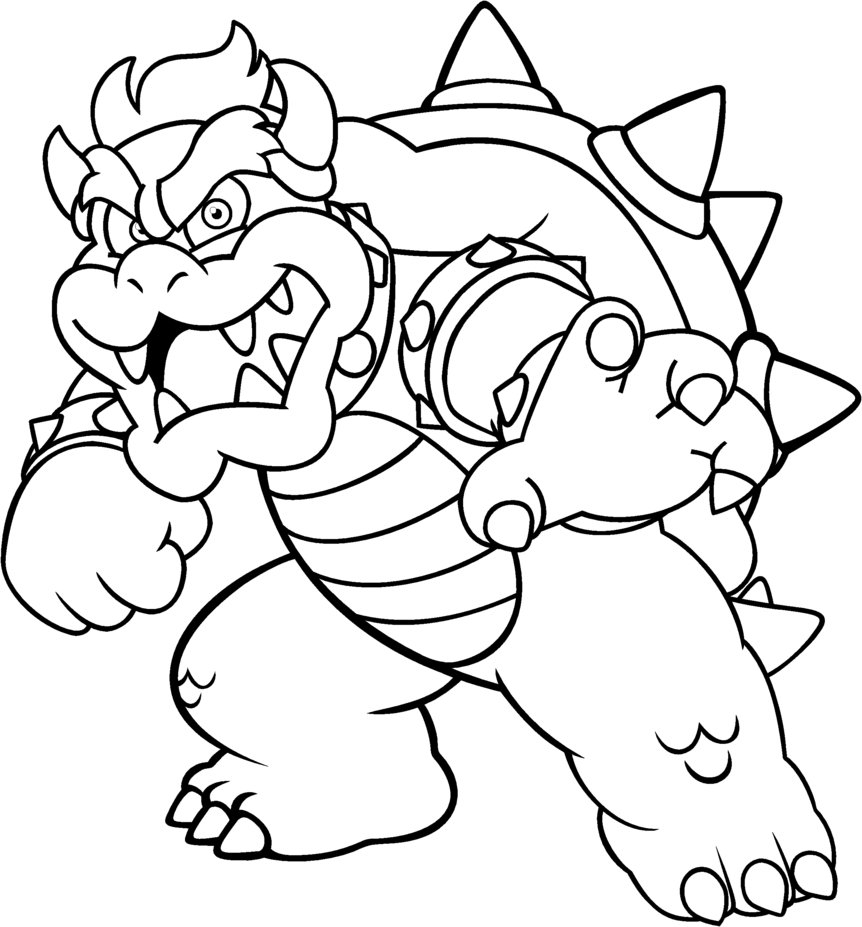 862x927 Bowser Coloring Pages Bowser Coloring Pages Picture To Coloring