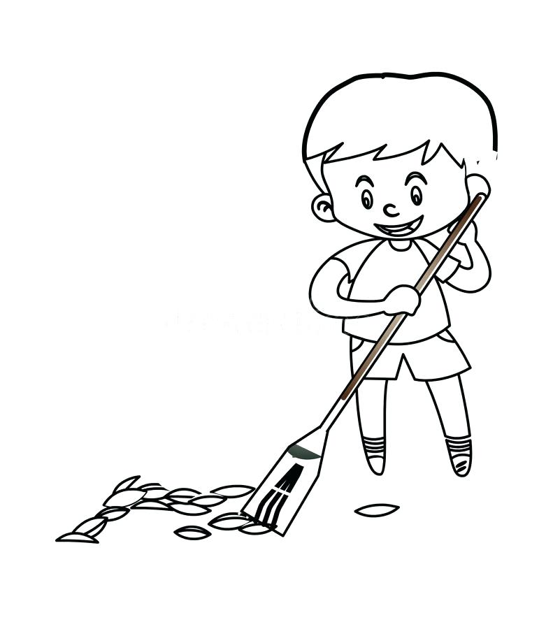 781x900 Box Coloring Page Little Boy Sweeping The Floor Coloring Page
