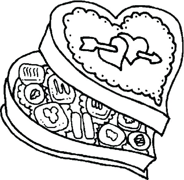 600x587 Chocolate Candy Coloring Pages Chocolate Food In Love Shaped Box