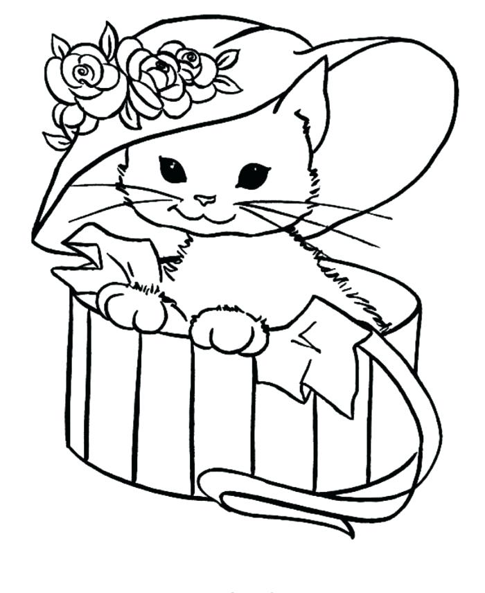 700x856 Coloring Cat Pictures Cat With Hat In A Box Coloring Halloween Cat