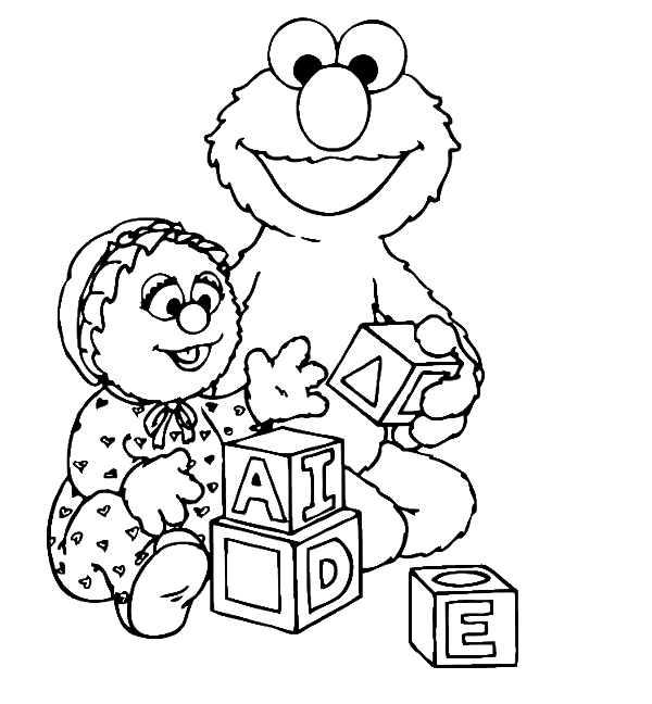 600x648 Elmo Was Playing A Funny Box Coloring Page