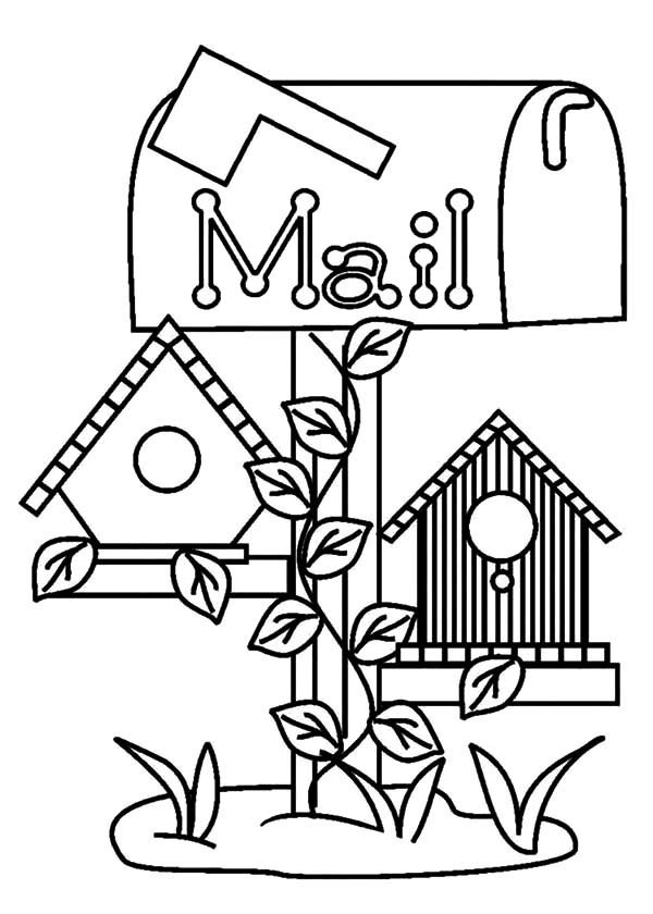 600x840 Bird House Under Mail Box Coloring Pages Best Place To Color