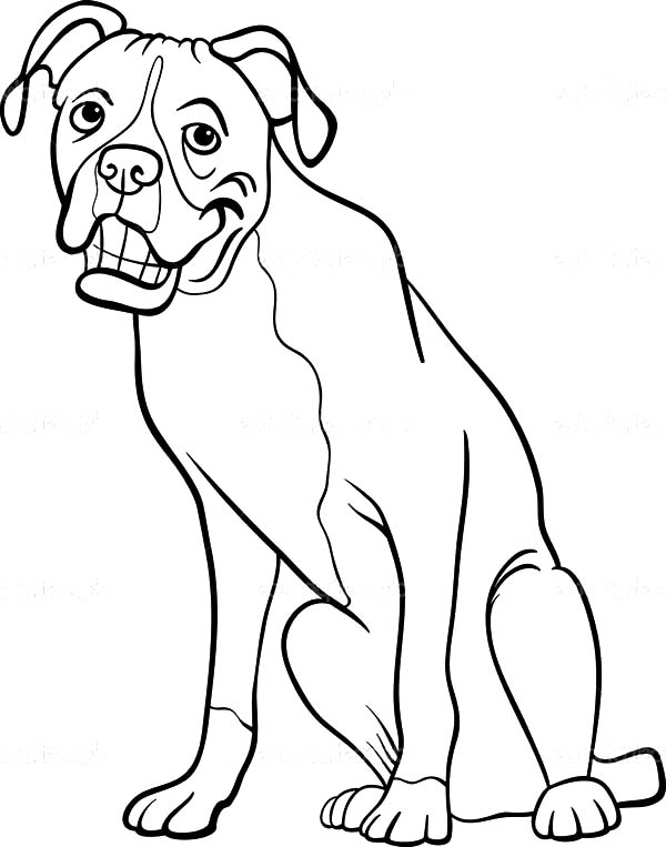 600x763 Boxer Dog Cartoon For Coloring Book Happy Colouring Boxer Dog