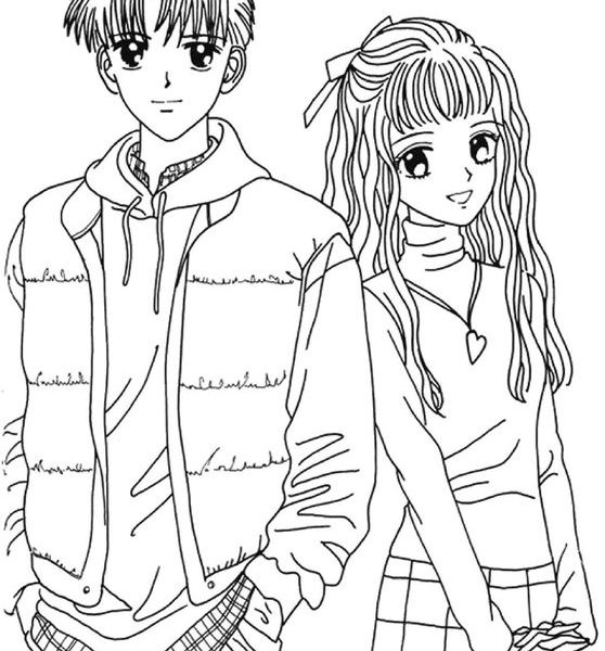 558x600 Coloring Pages Girl And Boy Girl And Boy Coloring Pages