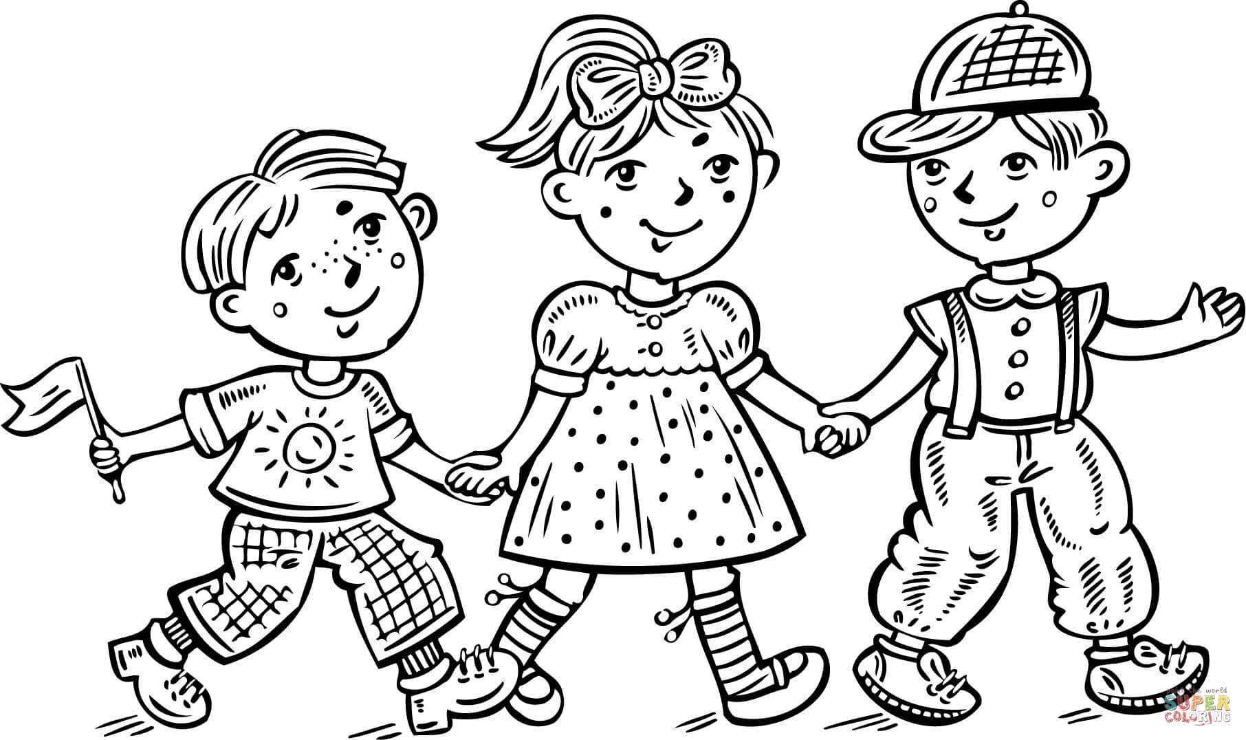 1812x1076 Boy And Girl Coloring Page Printable