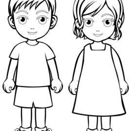 268x268 Boy And Girl Coloring Pages