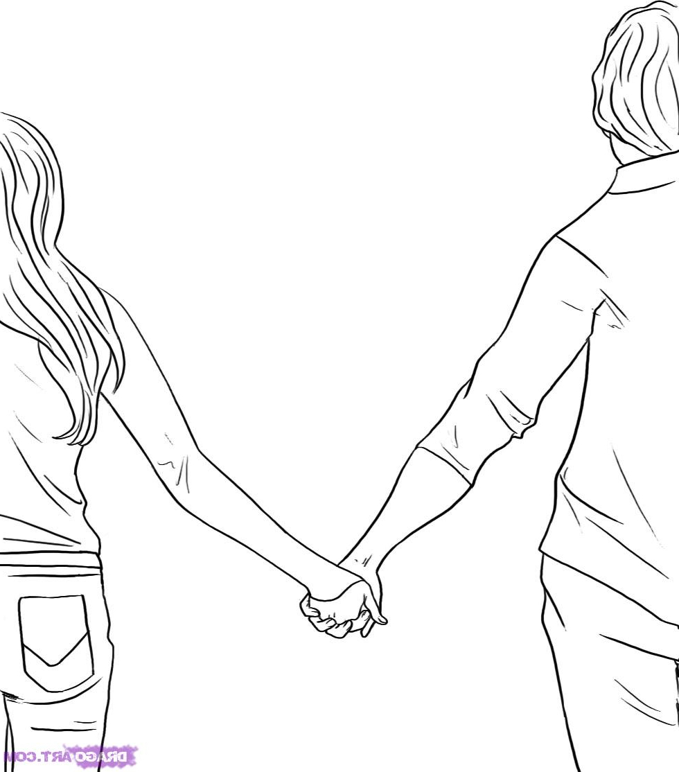 980x1114 Drawing Of Girl Holding Hand Hand Drawn Coloring Page Of A Boy