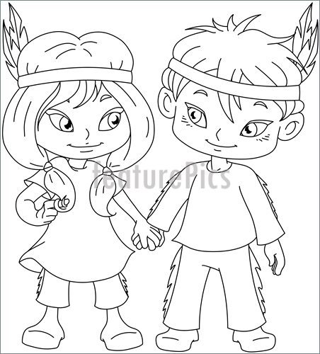 452x500 Indian Boy And Girl Holding Hands For Thanksgiving Coloring Page