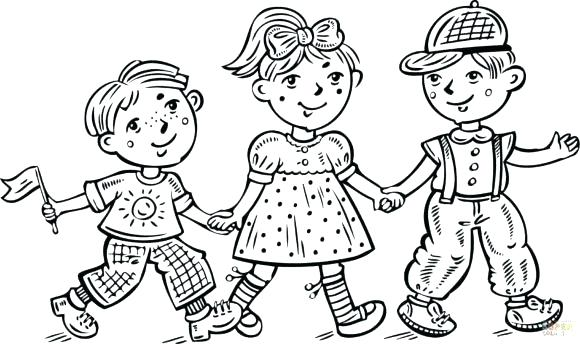580x344 Boy And Girl Coloring Picture Face Page Full Size Of Holding Hands
