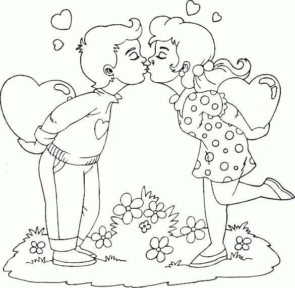 Boy And Girl Kissing Coloring Pages