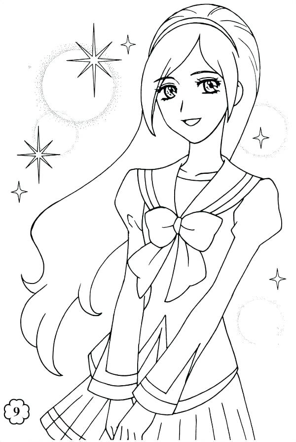 600x895 Coloring Pages Love Cartoon Girl Coloring Pages Anime Girl