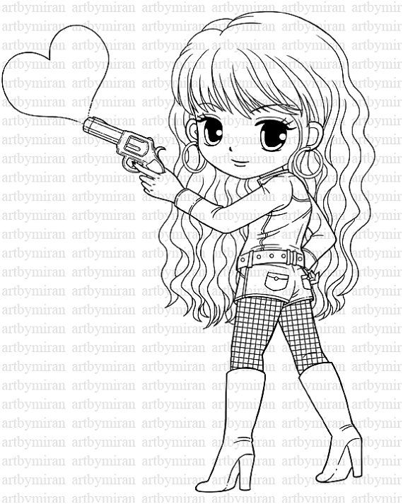 570x713 Digi Stamp Love Shot, Pretty Girl Coloring Page, Heart Digital