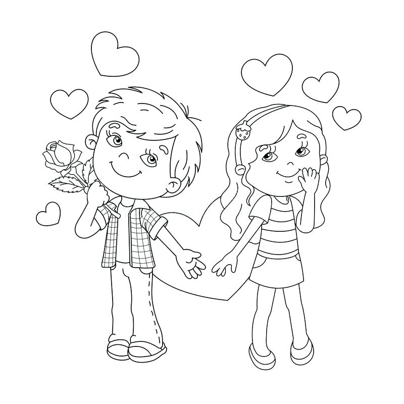 800x800 Coloring Pages Of Boy And Girl Kissing Outline Page Hearts Cartoon