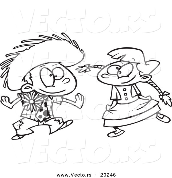600x620 Vector Of A Cartoon Boy And Girl Dancing