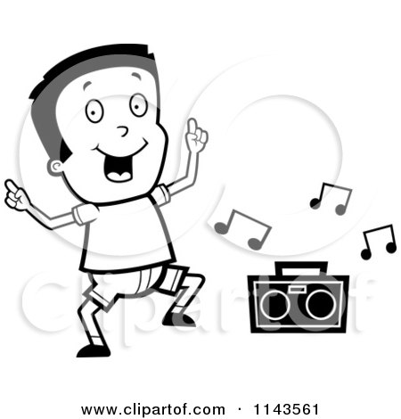 450x470 Cartoon Clipart Of A Black And White Happy Boy Dancing To Music