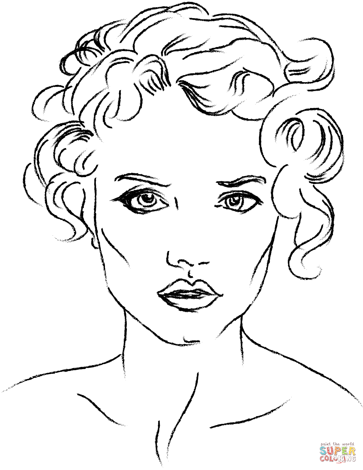 1159x1500 Coloring Pages Faces Woman S Face Page Free Printable